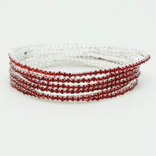 Rhinestone Line Stretch Bracelet Set Red
