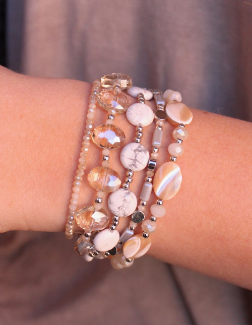 Rowan Multi Strand Natural Stone And Mother Of Pearl Bracelet White
