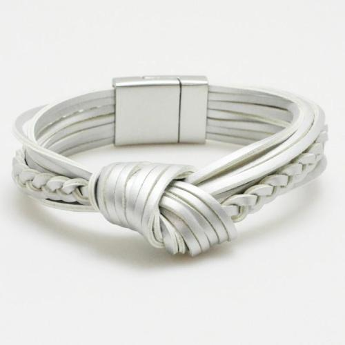 Knotted Leather Bracelet Silver