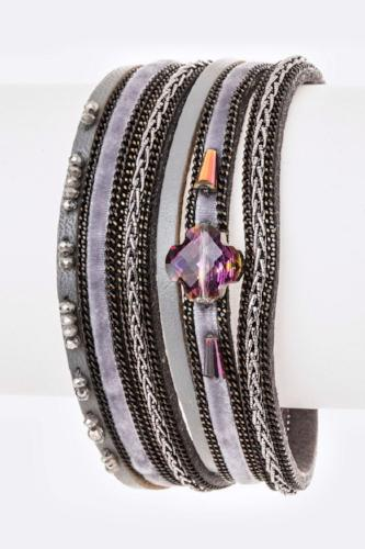 Crystal Mix Leather Double Wrap Magnetic Bracelet Grey