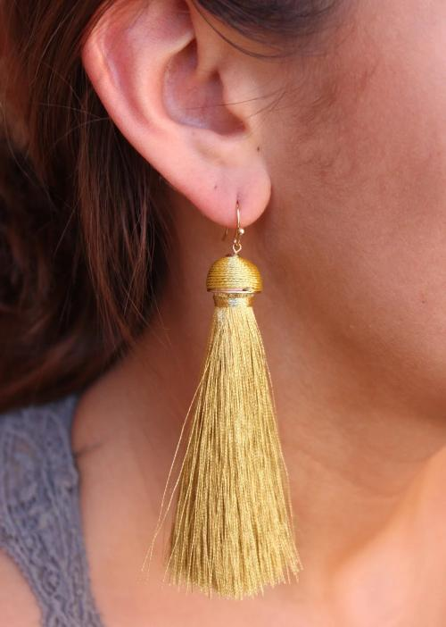 Abys Thread Wrapped Cap with Metallic Fabric Tassel Drop Earrings Gold