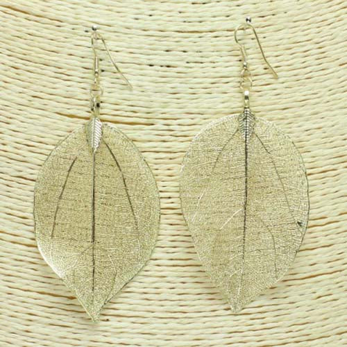 Real Aspen Leaf Earring Gold