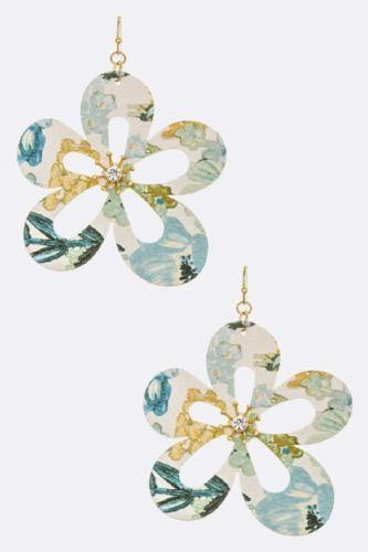 Floral Print Cutout Drop Earrings Blue