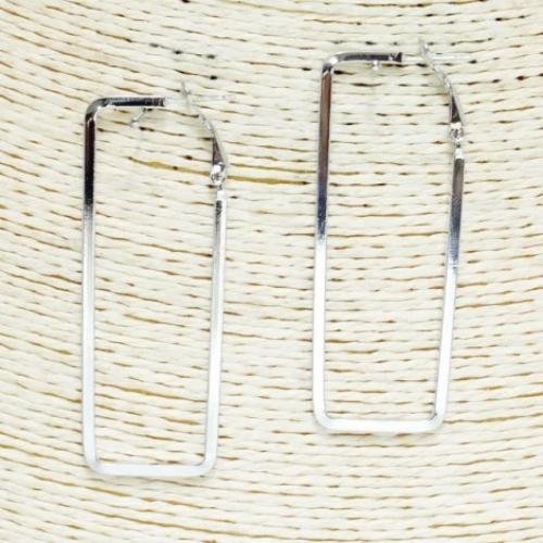 "Rectangle Hoop Earrings 2.5"" Silver"