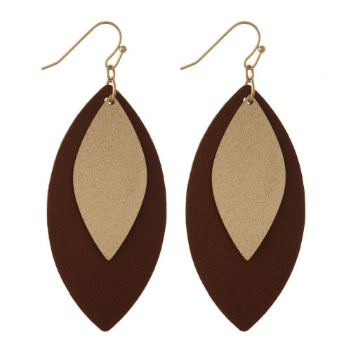 Oval Leather Shape Earrings Brown