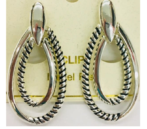 Bali Texture Double Teardrop Clip Earrings