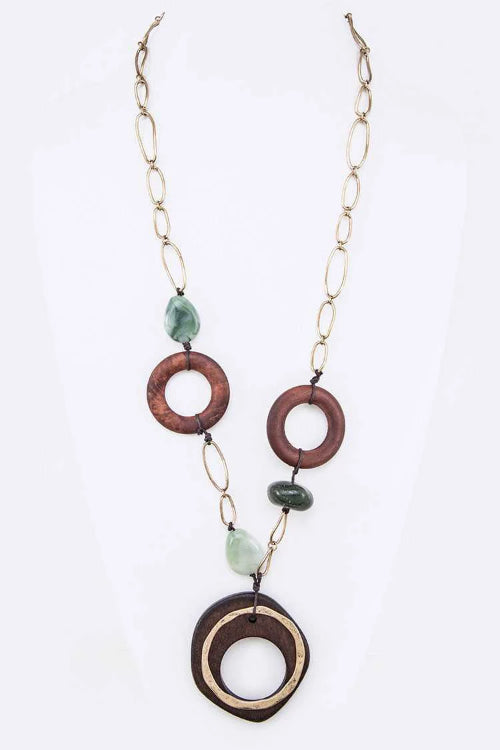 Wood & Beads Station Pendant Green