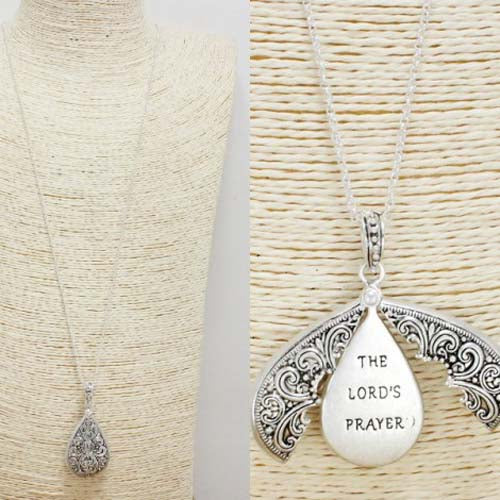 """Lord's Prayer"" Pendant Necklace - Worn Silver"