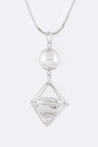 Crystal Drop Pearl Pendent Necklace Silver