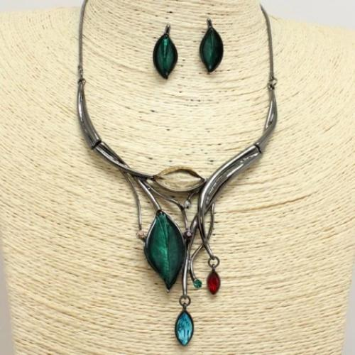Drop Leaf Necklace Set Hematite/Multi