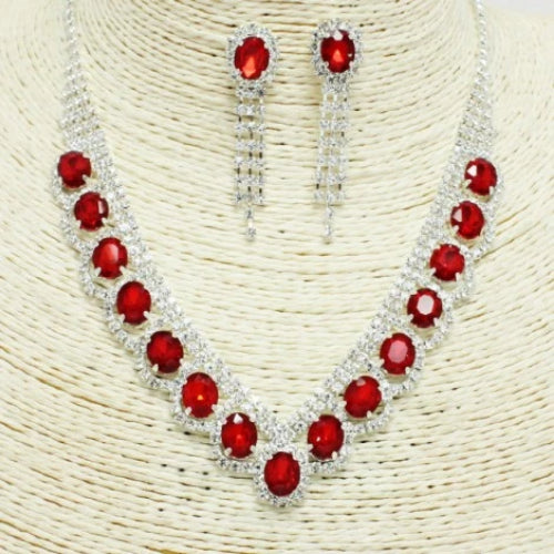 Special Occasion Rhinestone Necklace Set Red/Silver