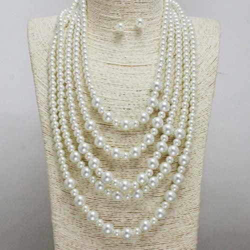 Multi-Strand Pearl Necklace Set