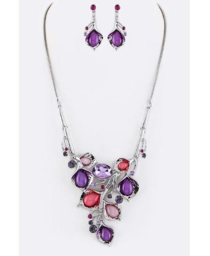 Crystal Flowers Statement Necklace Set Silver/Purple