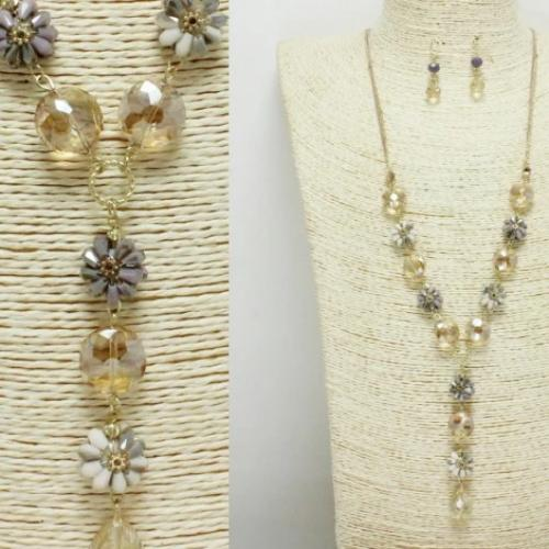 Flower/Bead Fashion Long Necklace