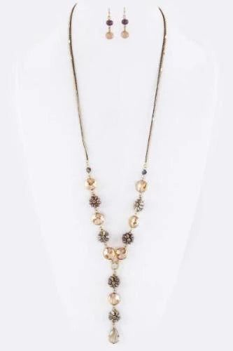 Crystal & Bead Flower Necklace Set Brown
