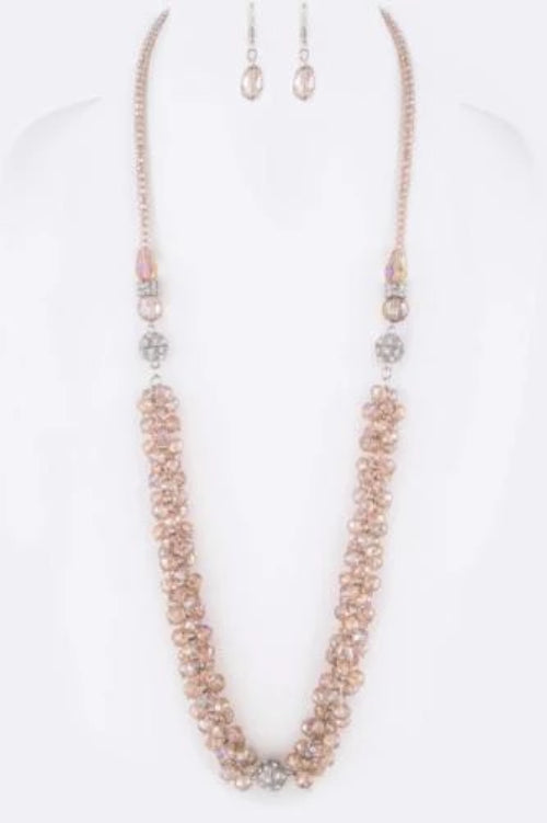 3-in-1 Convertible Crystal Fringe Beads Necklace Set Topaz