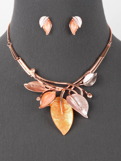 Fashion Leaves Necklace Set Rose Gold