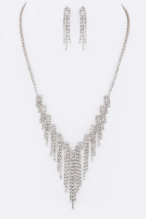 Layer Crystals Necklace Set