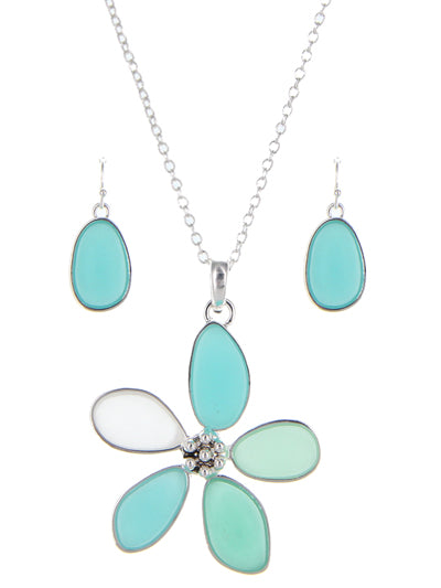 Sea Glass Garden Flower Necklace Set Turquoise