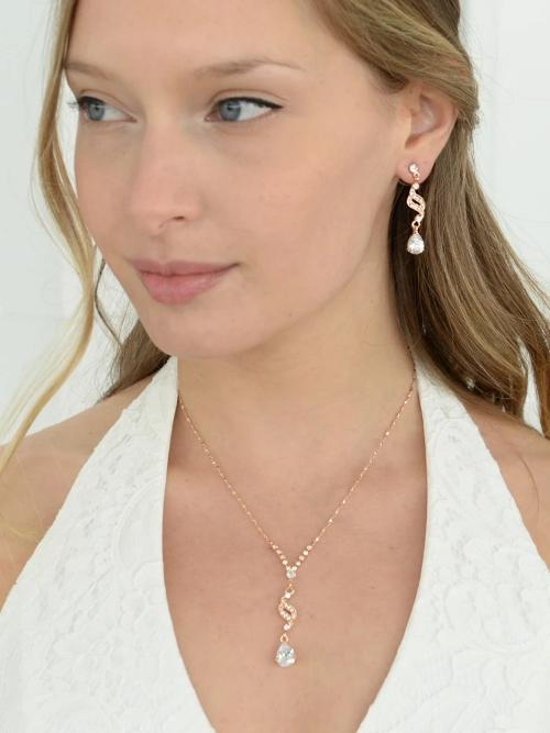 Dainty Necklace & Earrings Set with CZ Teardrops Rose Gold