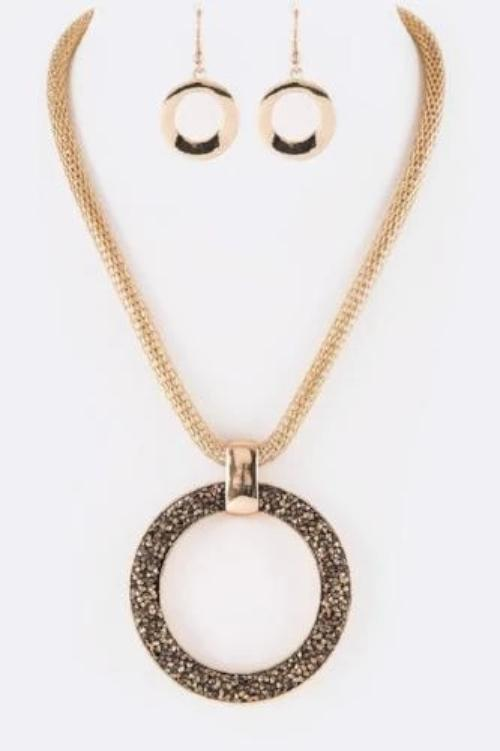 Druzy Crystal Ring Iconic Pendant Set Gold