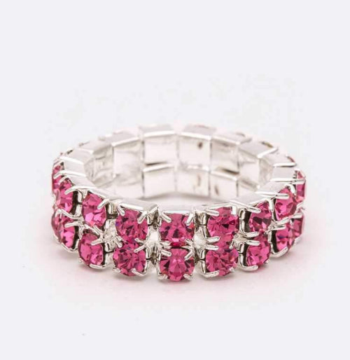 Double Row Stretch Rhinestone Ring Pink