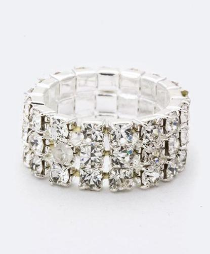 3 Row Crystal Stretch Ring Clear