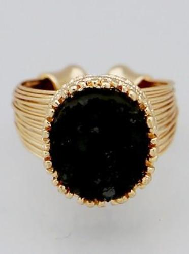 Simulated Druzy Multi Wire Row Adjustable Ring Black