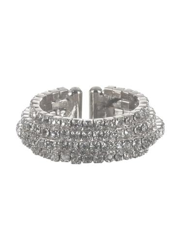 Five Layer Rhinestone Ring Silver