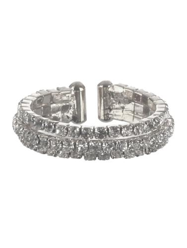 Three Layer Rhinestone Ring Silver