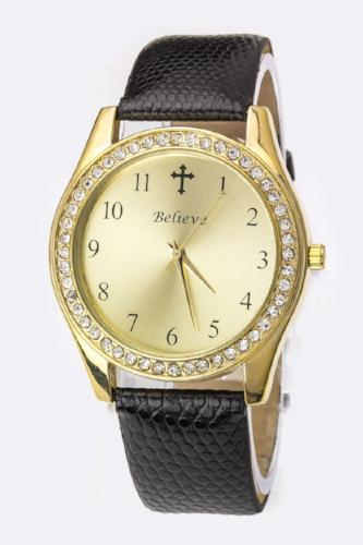 Crystal Bezel Fashion Watch with cross - Black