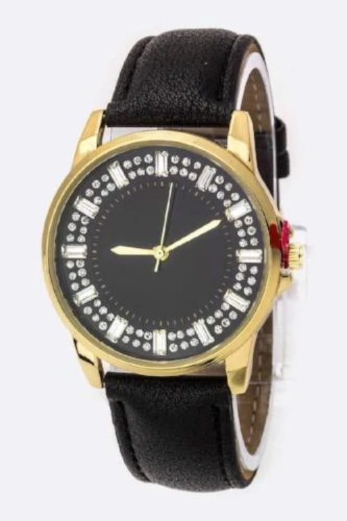 Baguette Crystal Bezel Leather Watch Black/Gold