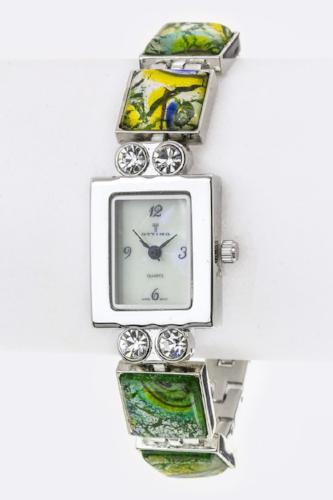 Crystal & Resin Stone Bracelet Watch Green