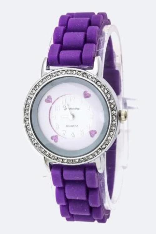 Hearts Rounded Crystal Fashion Jelly Watch