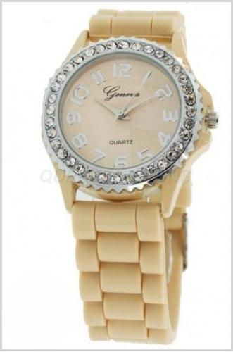 Large Silicone (Jelly) Watch Beige