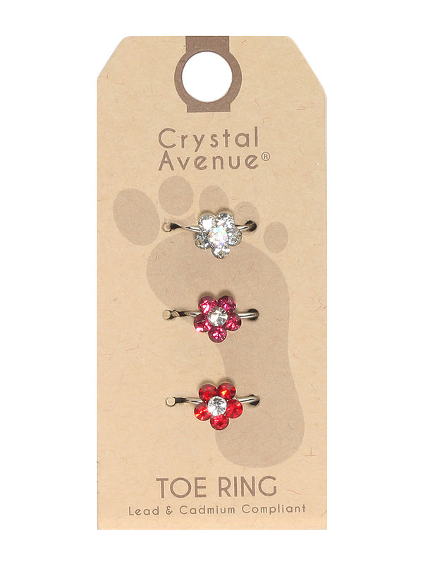 3 Piece Crystal  Flower Toe Ring Set