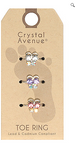 3 Piece Crystal Toe Ring Set - Butterflies