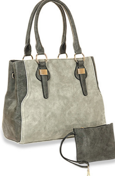 Dual Compartment Hand Tote Set Grey