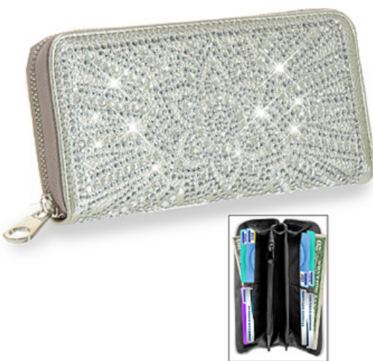 Rhinestone Flower Design Accordion Wallet Gold