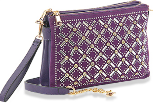 Rhinestone Design Crossbody/Wristlet Purple