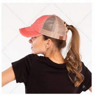 Distressed Criss Cross C.C Pony Cap