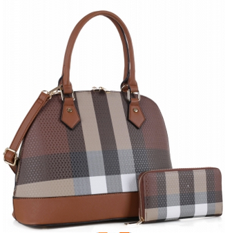 Classic Plaid 2-in-1 Handbag Set Brown