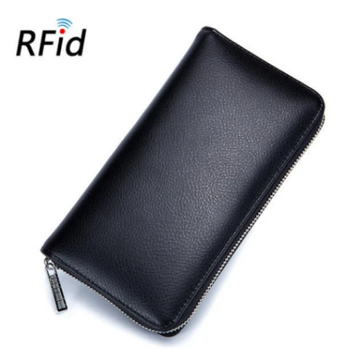 RFID Genuine Leather 36-Card Wallet Black