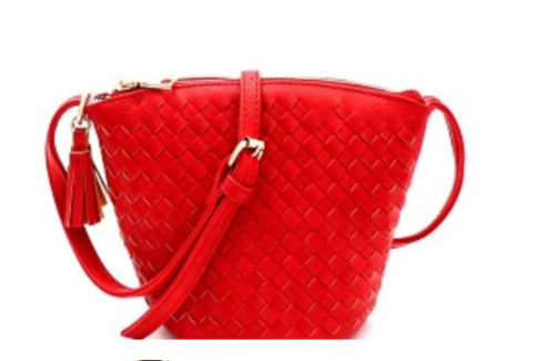 Tassel Accent Woven Crossbody Red