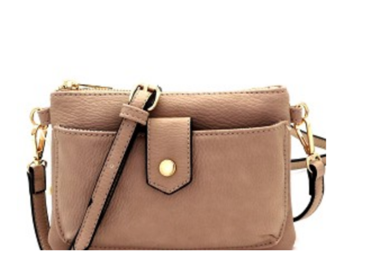 Versatile Cellphone Compartment Crossbody Taupe