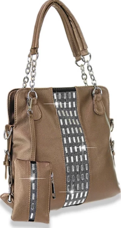 Gem Accented Tall Handbag Bronze