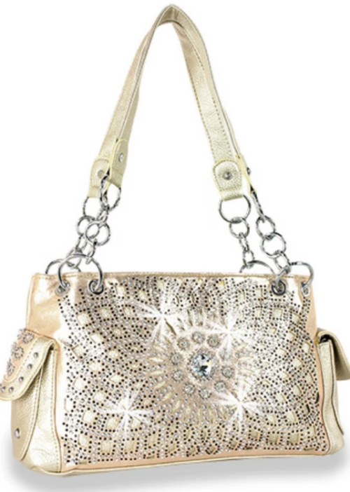 Bling Geometrical Design Layered Handbag Gold