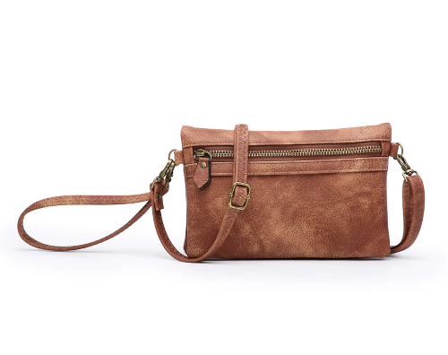 Hobo Wallet with Crossbody Strap Rust
