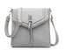 Flapover Braided Crossbody Light Grey
