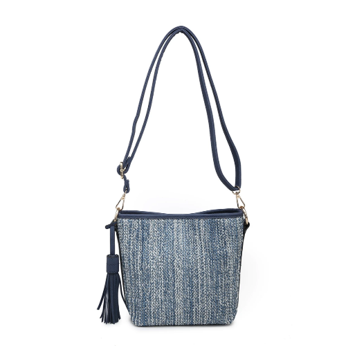 Straw Textured Crossbody Blue/Grey